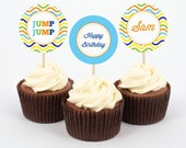 CUSTOMIZABLE Digital Party Circles or Cupcake Toppers -- Colorful Trampoline Party Collection -- Mirabelle Creations
