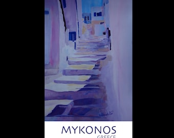 Enchanting Mykonos Greece View with Stairs - Fine Art Print Vintage Retro Giclee -
