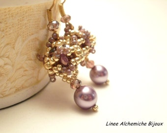 Alchemilla Bead Earrings TUTORIAL, beaded beads tutorial with superduo and czech briolet