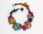 Geometric knitted necklace, colorful statement jewelry, OOAK wearable art