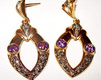 Natural Amethyst Dangle Earrings Marcasites Clutch Backs 925 Silver Gold Vermeil 1 3/4 in Vintage