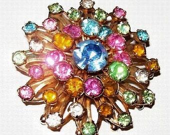 """Pastel Rhinestone Brooch Pin Tiered Flower Cluster Gold Metal 2"""" Vintage Spring"""