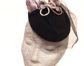 Chic black grey cream fascinator cocktail wedding hat net flower 40s style