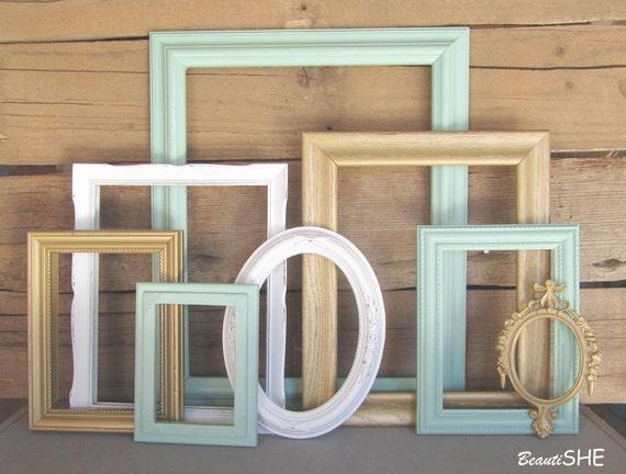 mint gold white or cream frame set custom frames open or - Mint Picture Frames