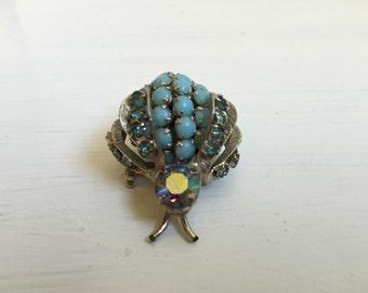 Retro Rhinestone Beetle Pin -Turquoise Color Beaded Warner Bug Brooch