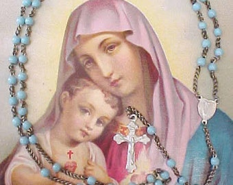 Pretty Little Vintage Rosary with Sky Blue Beads and Miraculous Mary Medal