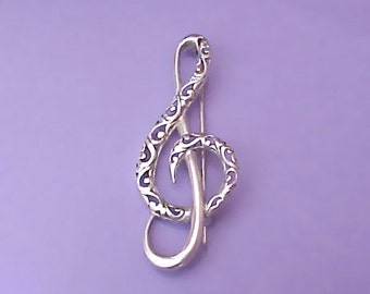 Lovely Vintage Sterling Silver Musical Note Brooch