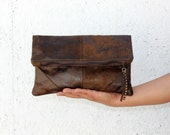 Vegan Clutch, handbag,  fold over clutch,leather vegan, Chocolate brown,soft and lightweight. Womens gift. Wife gift. Gift for her. Handmade