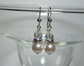 Swarovski White Pearl Earrings. Swarovski Pearls and Crystals with Rhinestones. White Wedding. Dressy. Sterling Silver Earwires.