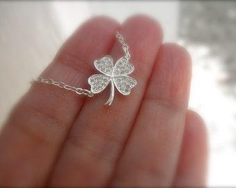 CZ  lucky clover charm necklace