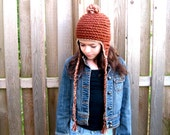 crochet earflap hat girls maple CLEARANCE save 50% use coupon code CLEAR50