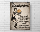 Sport Print - Vintage Basketball Art Print - Kids Basketball Room Decor - Michael Jordan Quote
