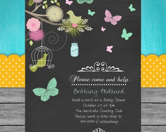 Bird Cage Party Invitation - Butterfly Chalkboard Floral Printable
