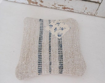 Grain sack sachet, lavender sachet with patch