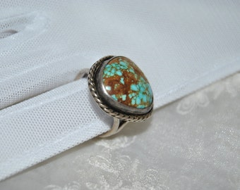 SALE 45%OFF Crow Springs Turquoise Ring, Silver, Navajo, Cabochon, 1940s, Gothic Bridal Jewelry, Primitive Handmade Jewelry, Uniqur gifts