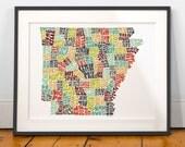 Arkansas typography map, arkansas map art, arkansas art print, arkansas poster print, arkansas gift idea, hand drawn state typography series