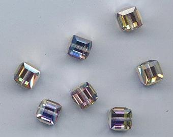 Twelve Swarovski crystal cubes in a rare nonstandard color - Art. 5601 - 8 mm effect color crystal meridian blue