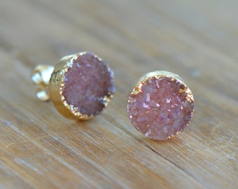 Pink Round Druzy Crystal Earring Posts with 24K Gold Dipped or steriling silver 10mm Circle Earring Studs (AP024)