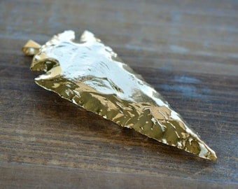 1 - Extra Large REAL Arrowhead Charm 24K GOLD Dipped Agate Gemstone Arrowhead Charm Indian Arrowhead Jewelry Making Supplies (DA169)
