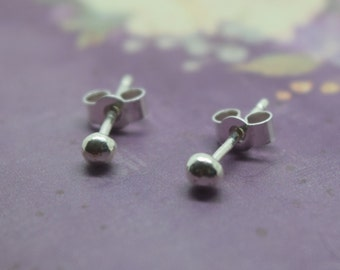 Tiny Silver Ball Studs - Sterling Silver 925 Solid 2mm Tiniest Small Second Hole Dot Earrings