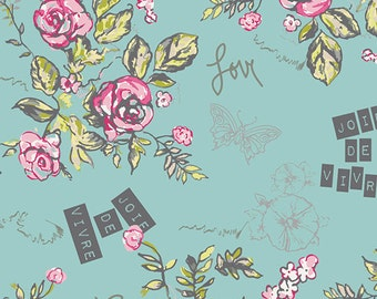 Art Gallery Fabric - Cherie - Joie De Vivre Beryl - Turquoise - Frances Newcombe -Choose Your Cut 1/2 or Full Yard