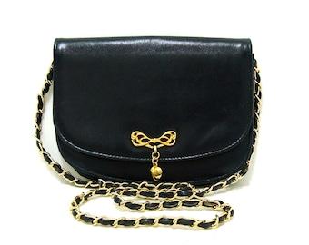 Vintage Navy Blue Vegan Shoulder Bag Vtg Faux Leather Bow and Heart Gold Chain Purse