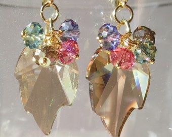 Crystal Golden Shadow Leaf Earrings with Multi Color Rondelles in Gold