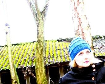 Amsterdam Muts - knitted, merino wool beanie hat - cerulean blue