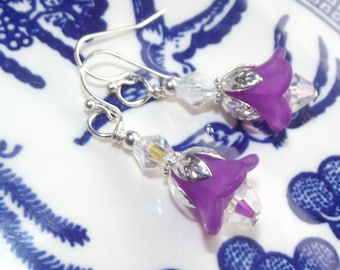 Purple Flower Earrings - Lucite Flower Earrings - Acrylic Flower Earrings - Bridal Jewelry - Flower Earrings - Bridesmaid Earrings