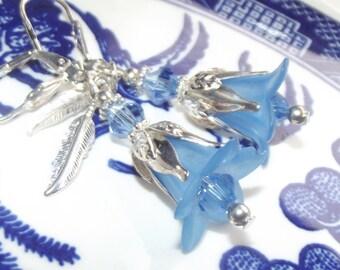 Blue Frosted Flower Earrings - Lucite Flower Earrings - Bridesmaid Earrings - Blue Earrings - Flower Earrings - Acrylic Earrings
