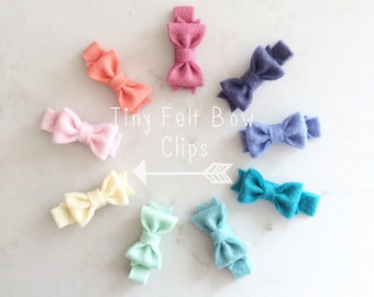 Tiny Felt Bow Clips - Wool Felt Bows - Baby Hair Clips - Pick your colors