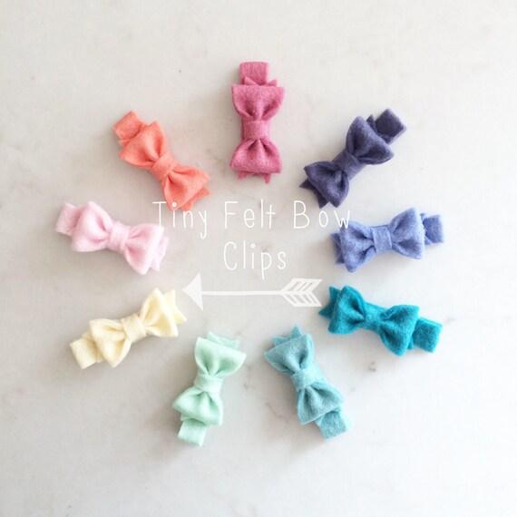 Tiny Felt Bow Clips - Wool Felt Bows - Baby Hair Clips - Pick your colors