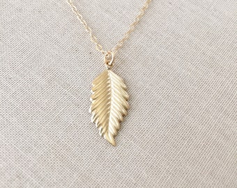 14k Gold Filled Leaf Necklace, 14k Gold Filled chain, Gold Filled Leaf Charm, Birthday Gift, Gift for Her, Dainty Necklace, Simple Jewelry