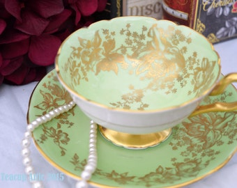 Coalport Green and Gold Vintage Teacup and Saucer, Wedding Gift, English Teacup, c. 1940