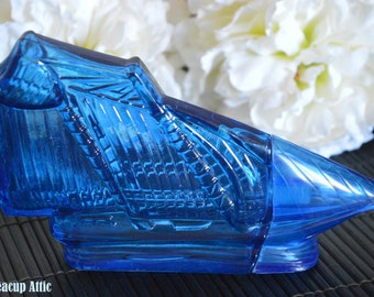 Avon Cobalt Blue Sail Boat Shaped Glass Perfume or  Cologne Bottle, Collectible Bottle, ca. 1965-1980
