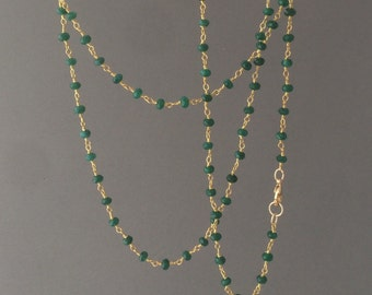 Long or Short Green Emerald Stone Gold Beaded Necklace