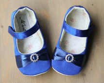 Royal blue baby girl Rhinestone shoes, blue satin slippers, elegant baby outfit, flower girl wedding shoes