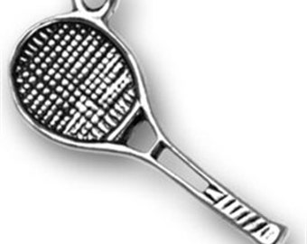 Tennis Racquet - Sterling Silver Charm