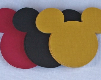 30 Mickey Mouse Die Cuts, Black Yellow and Red,Scrapbooking, Die Cuts, Confetti.