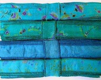 Blue Silk Sari Ribbon R86