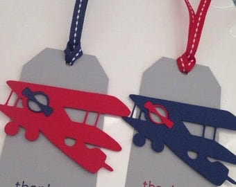Vintage Airplane Favor Tags || Airplane Baby Shower || Airplane Birthday, Gray || Navy || Red || Set of 10