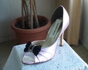 Wedding Pink Shoes more colors black bow vintage brooch, peep toe, closed ankle pump