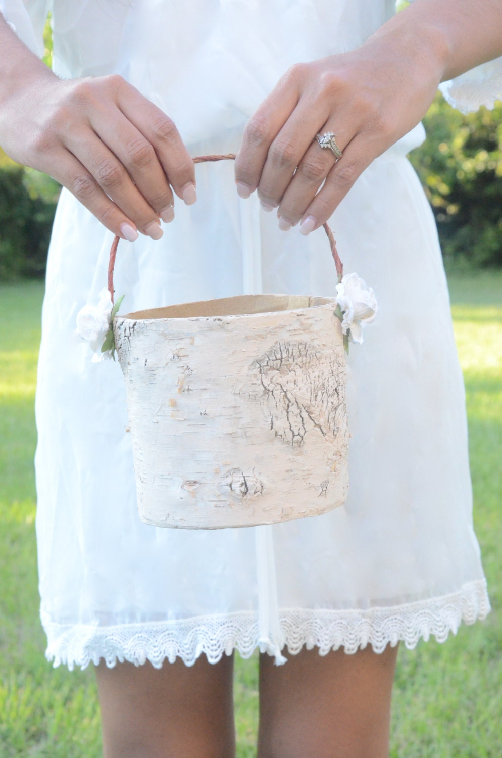 Flower Girl Baskets Small : Boho chic small flower girl basket single