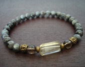 Women's Inner Calm Mala Bracelet // Black Moonstone, Smoky Quartz, & Lemon Quartz Mala Bracelet // Yoga, Buddhist, Meditation, Jewelry