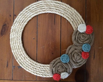 Burlap Wreath, Removable Attachment in Tan, Coral, Dusty Blue and White Burlap Wreath, Indoor Wreath, All Seasons Burlap Wreath