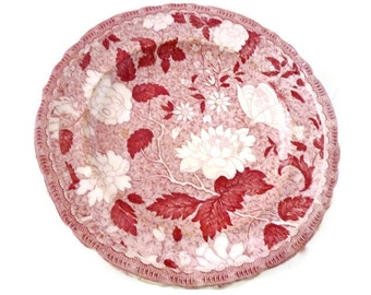 Antique Red Transferware Plate 1800s
