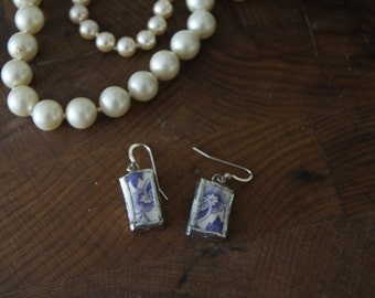 Purple Spode Broken China Earrings