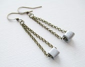 Silver Bead Earrings Mixed Metal Beaded Jewelry Handmade Long Boho Dangle Drop