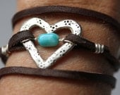 Silver and Turquoise Bead Heart with Leather Wrap Bracelet