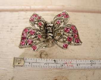 pair vintage hair clips for small child or doll silver metal & pink rhinestone diamante and black, purple butterfly